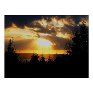 Poster hermoso de la salida del sol