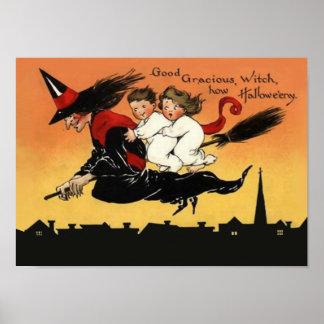 Poster hermoso del arte de Halloween del vintage