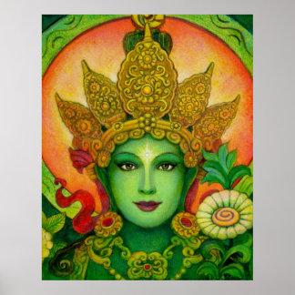 Poster hermoso del arte de Tara del verde de la di