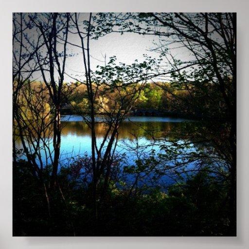 Poster hermoso del paisaje del lago