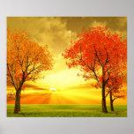 Poster hermoso del paisaje del otoño