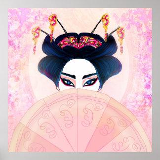 Poster hermoso del retrato del geisha