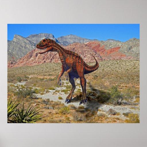 Poster ~ Herrarsarus Dinosaur In Desert