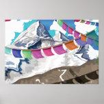 Poster Himalayan del viaje de las banderas del