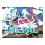 Poster Himalayan del viaje de las banderas del Tarjeta Postal