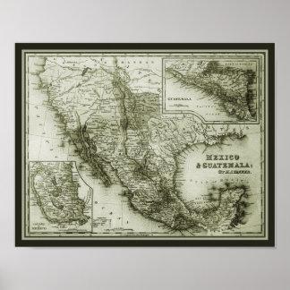 Poster histórico del mapa México y de Guatemala/im