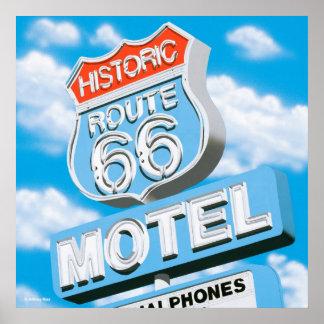 Poster histórico del motel de la ruta 66