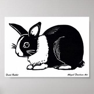 """Poster holandés blanco y negro del conejo, 7"""" x 5"""""""