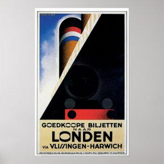 Poster holandés del transbordador del carril del v