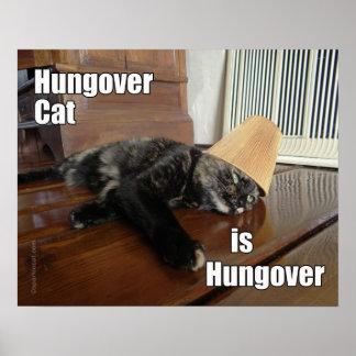 Poster Hungover del gato de la concha Póster