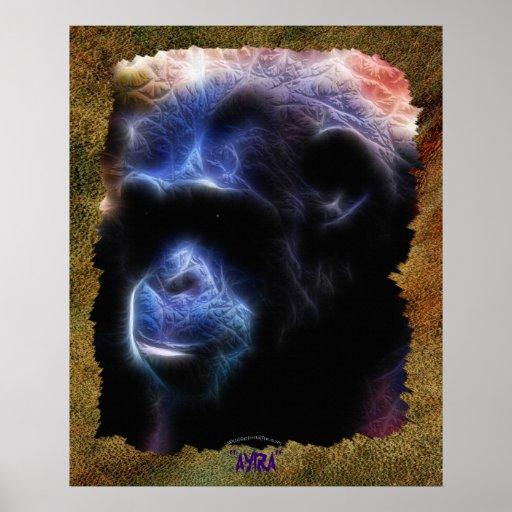 """Poster I del arte del chimpancé de """"AYIRA"""""""