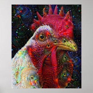 Poster ideal profundo del pollo del espacio póster