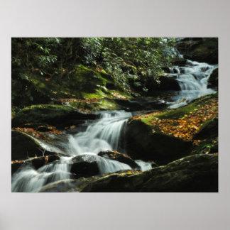Poster idílico de la foto de la cascada