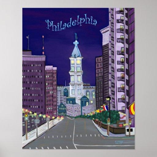 Poster illuminado de la ciudad