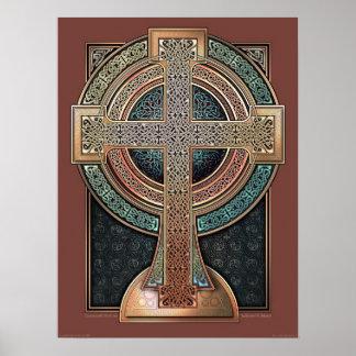 "Poster iluminado de la cruz céltica (18x24"")"