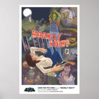 Poster iluminado por la luna de la noche