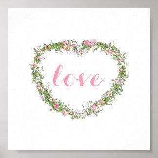 Poster/imagen - amor floral del corazón póster