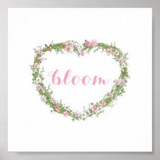 Poster/imagen - floración floral del corazón póster