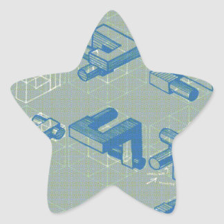 Poster imaginario del planeamiento pegatina en forma de estrella