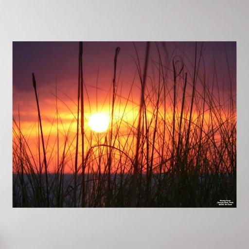 Poster imponente de la puesta del sol