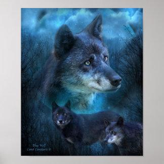 Poster/impresión azules del arte del lobo