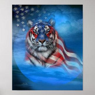 Poster impresión blancos del arte de la bandera de