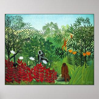 Poster impresión Bosque tropical con los monos