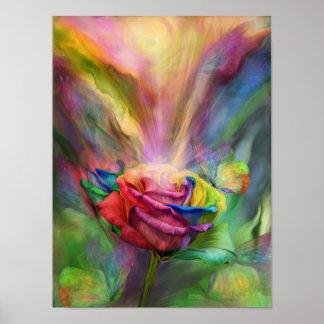 Poster/impresión color de rosa curativos de la bel