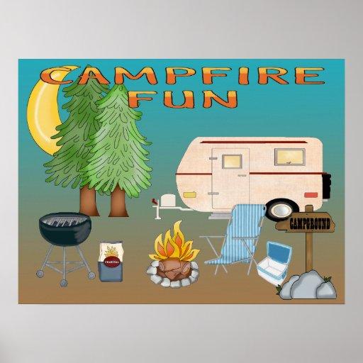 Poster/impresión de la diversión que acampan
