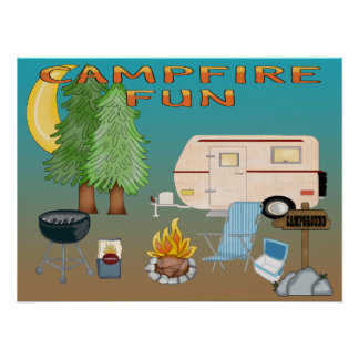 Poster/impresión de la diversión que acampan póster