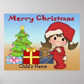 Poster impresión de la niña pequeña del navidad