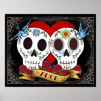 Poster impresión de los cráneos del amor