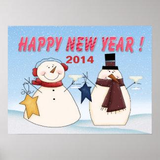 Poster/impresión de los muñecos de nieve del Año N Póster