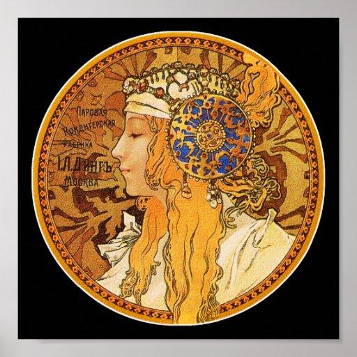 Poster/impresión de Mucha: Mujer con las joyas