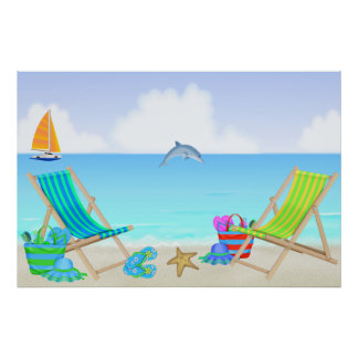 Poster/impresión de relajación de la playa póster