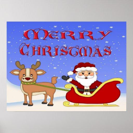 Poster/impresión de Santa de las Felices Navidad