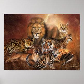 Poster impresión del arte de los gatos grandes