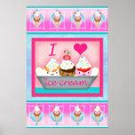 Poster/impresión del arte del amor del helado del