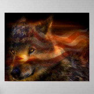 Poster/impresión del arte del lobo de la libertad póster
