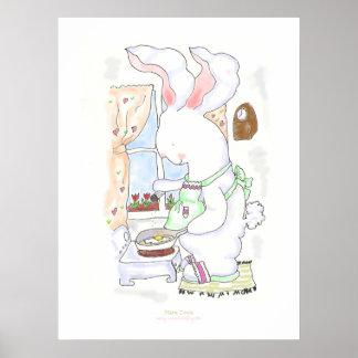 Poster/impresión del cocinero de las liebres póster