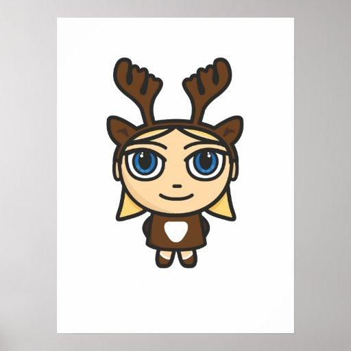 Poster/impresión del dibujo animado del chica del  póster