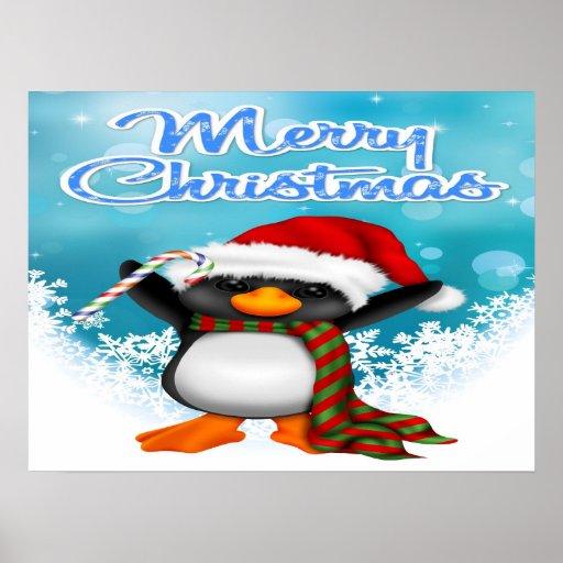Poster/impresión del pingüino de las Felices Navid