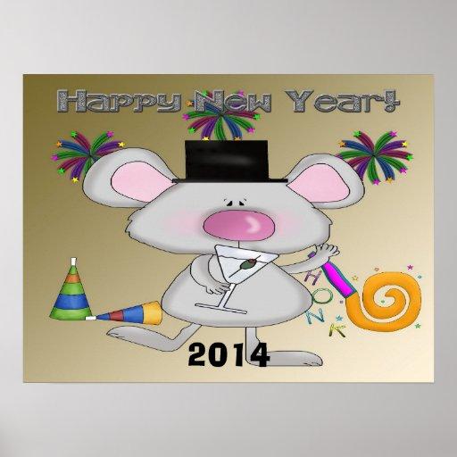 Poster/impresión del ratón del Año Nuevo