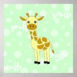 Poster/impresión lindos de la jirafa del bebé