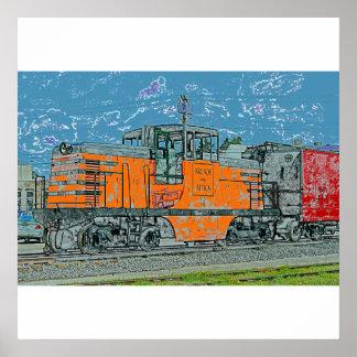 Poster impresión locomotores anaranjados