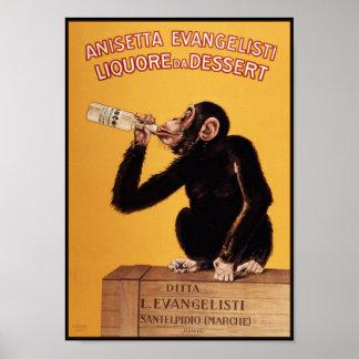Poster impresión Mono del licor de Anissetta