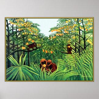 Poster impresión Monos en la arboleda anaranjada
