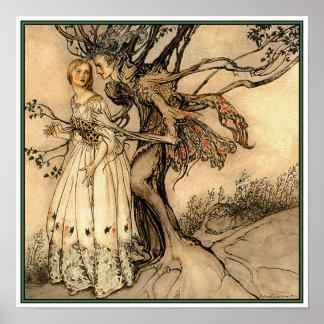 Poster/impresión:  Mujer mayor en la madera por Ra Póster