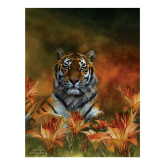 Poster/impresión salvajes del arte de los tigres póster