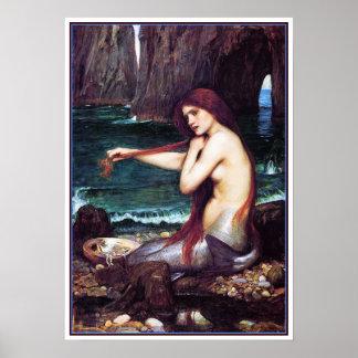 Poster/impresión: Una sirena por el Waterhouse de
